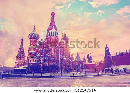Saint Basil's Cathedral in Red Square in winter at sunrise, Moscow, Russia. Travel background with retro vintage instagram filter. - stock photo