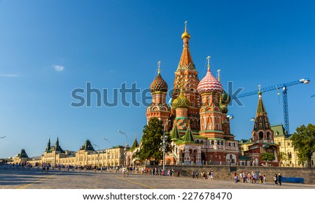 Saint Basil's Cathedral in Red Square - Moscow - stock photo