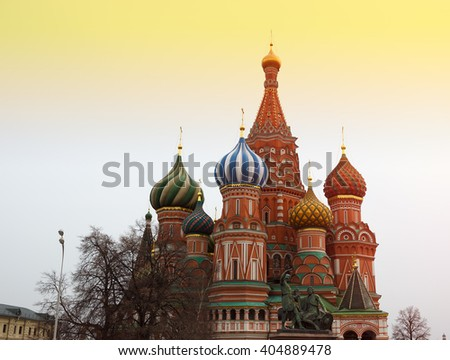 Saint Basil's Cathedral on Moscow Red Square sunset background - stock photo