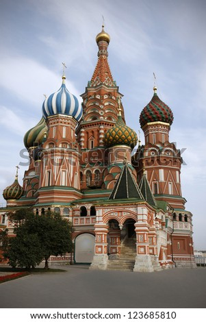 Saint Basil's Cathedral on Red Square in Moscow, Russia, build in 1560 - stock photo