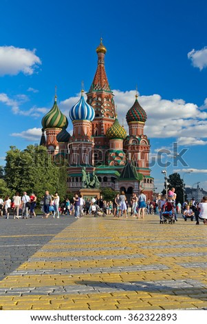 Saint Basil's Cathedral on the Red Square. Moscow august 2015