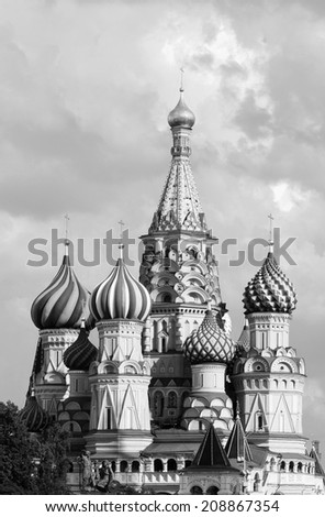 Saint Basils Cathedral in monochrome, Moscow, Russia - stock photo