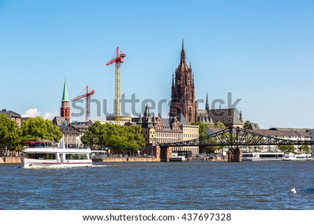Saint Catharine's church in Frankfurt, Germany  in summer day - stock photo