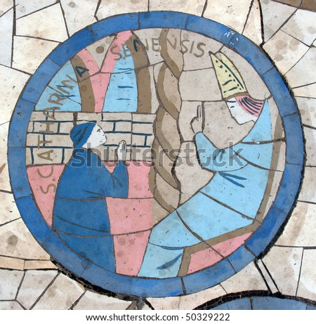 Saint Catherine of Siena, Mosaic in front of the church on the Mount of Beatitudes - stock photo