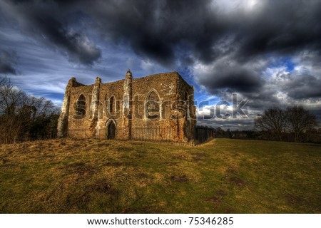 Saint Catherine Ruin Guildford Surrey UK  Moody Sky over the ruin which sits on a hill near the city - stock photo