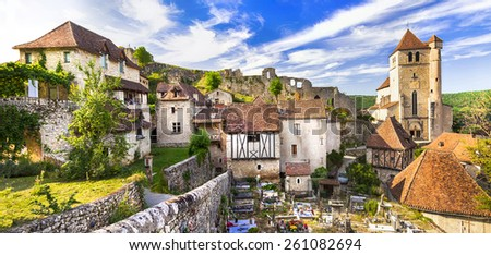 Saint-Cirq-Lapopie - one of the most beautiful villages of Franc - stock photo