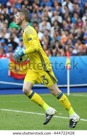 SAINT DENISE- FRANCE,  JUNE 2016 : David De Gea  in action during football match  of Euro 2016  in France between ITALY VS SPAIN at the Stade DE FRANCE on June 22, 2016 in  SAINT DENISE