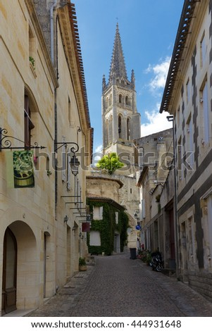 Saint Emilion church and street, Unesco world heritage town, falmus for its red wine, Gironde, france