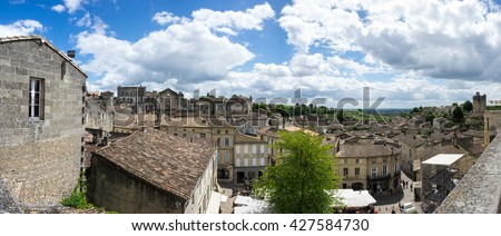 SAINT-EMILION, FRANCE - MAY 06, 2015: Saint-Emilion - one of the main red wine production areas of Bordeaux region, France. The town is a UNESCO World Heritage site