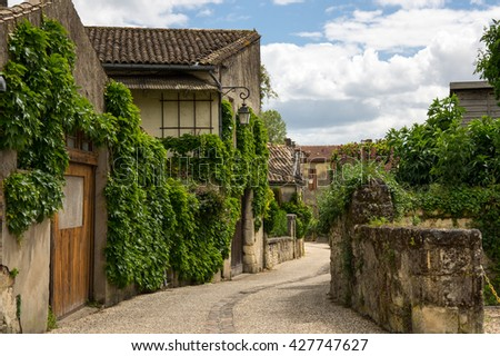 SAINT-EMILION, FRANCE - MAY 06, 2015: Saint-Emilion - one of the main red wine production areas of Bordeaux region, France.