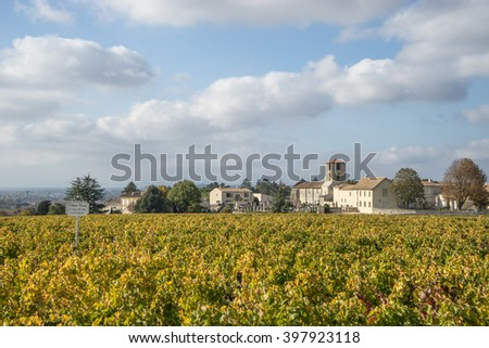 SAINT-EMILION, FRANCE - OCTOBER 25, 2015: Chateau Canon with vineyard. Chateau Canon,  is a Bordeaux wine from the Saint-Emilion appellation, ranked among the Premiers grands crus classes B.