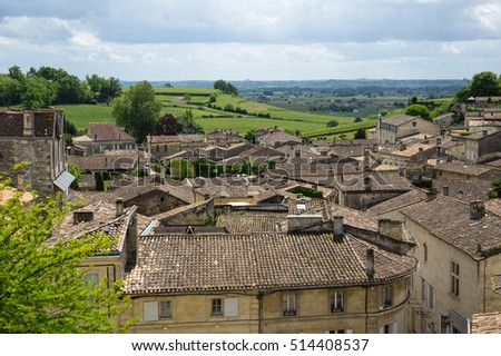 Saint-Emilion - one of the main red wine production areas of Bordeaux region, France. The town is a UNESCO World Heritage site