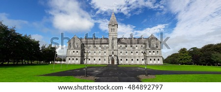 Saint Flannan's College Panoramic , Academic and Excellence in Sport, Beautiful Old Irish Stone Architecture, County Clare, Ireland.