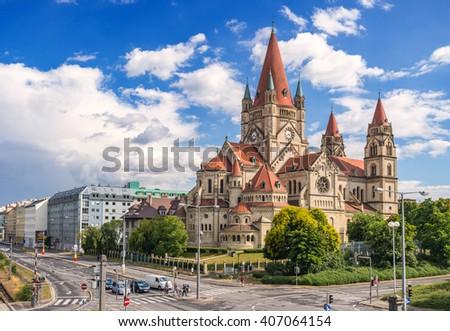 Saint Francis of Assisi Church, Vienna, Austria - stock photo