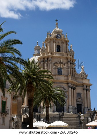 Saint George Cathedral in Ragusa Ibla, a baroque town in Sicily (Italy). UNESCO world heritage site. - stock photo