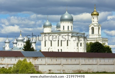 Saint George cathedral in Saint George orthodox monastery  near town Great Novgorod in Russia. - stock photo