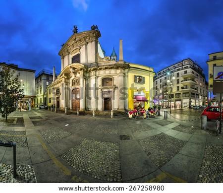 Saint George Church (Chiesa San Giorgio) and Torino Street in the Evening, Milan, Italy - stock photo
