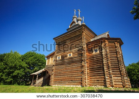 Saint George church (wooden) in park Kolomenskoye, Moscow, Russia - stock photo