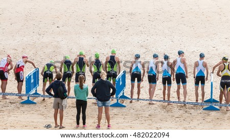Saint Gilles Croix de Vie, France - September 10, 2016 : Final triathlon championship of France in the category D3 - triathlon competitor on the starting line