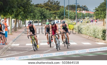 Saint Gilles Croix de Vie, France - September 10, 2016 : Final triathlon championship of France in the category D3 - frontrunners for a road bike race