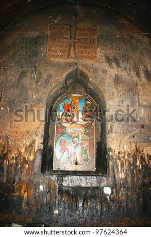 Saint Gregory the Illuminator's sufferings icon in Khor Virap church, Armenia.