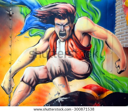 SAINT HYACINTHE QC CANADA JULY 25 2015:Aladdin mural in Saint-Hyacinthe like most urban cities around the world, spotting an impressive piece of street art or graffiti can be gratifying.