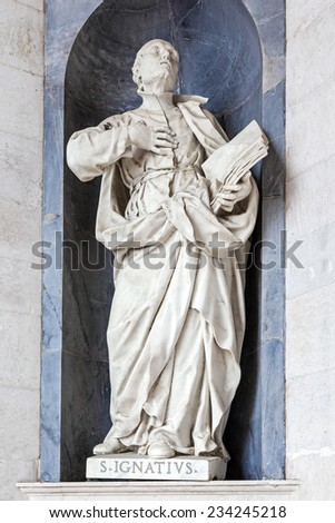 Saint Ignatius of Loyola Italian Baroque sculpture - 18th century - in Mafra National Palace and Convent in Portugal. Baroque architecture - stock photo