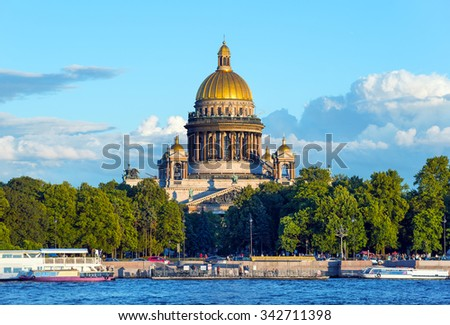 Saint Isaac Cathedral  across Neva river, St Petersburg, Russia - stock photo