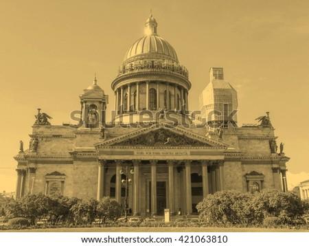 Saint Isaac Cathedral Isaakievskiy Sobor orthodox church in Saint Petersburg Russia - vintage sepia look - stock photo