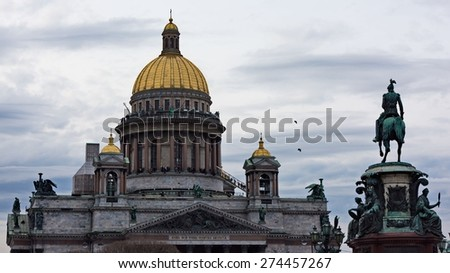 Saint Isaac's Cathedral and the Monument to Emperor Nicholas I, St. Petersburg, Russia