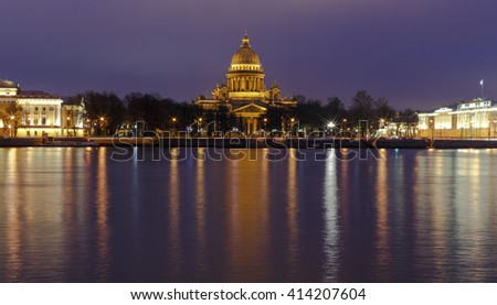 Saint Isaac's Cathedral of Saint Petersburg at night