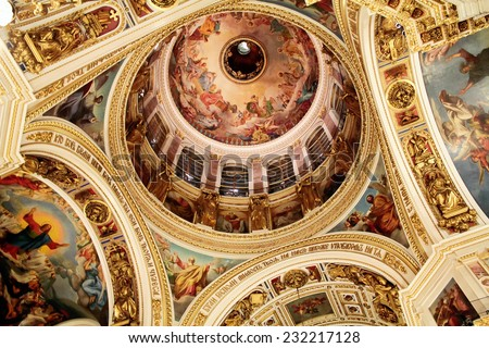 Saint Isaac's Cathedral or Isaakievskiy Sobor, Saint Petersburg, Russia. Interior, view to the central dome with night lighting. - stock photo