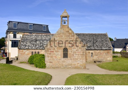 Saint-Jacques church of Ploumanac'h, village in the commune of Perros-Guirec. It is found in the region Bretagne in the Cotes-d'Armor department in the west of France. - stock photo