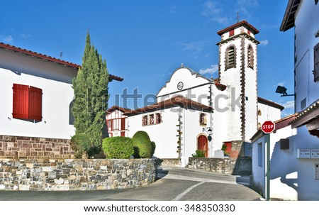 Saint-Jacques-le-Majeur church in typical Basque village Souraide, Basque country, Province of Labourd, Atlantic Pyrenees, Aquitaine, France  - stock photo
