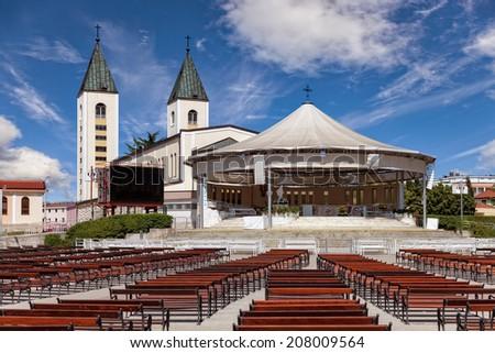 Saint James church of Medjugorje in Bosnia and Herzegovina. - stock photo
