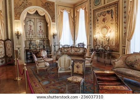 SAINT JEAN CAP FERRAT, FRANCE - OCTOBER 29, 2014: Villa Ephrussi de Rothschild interior