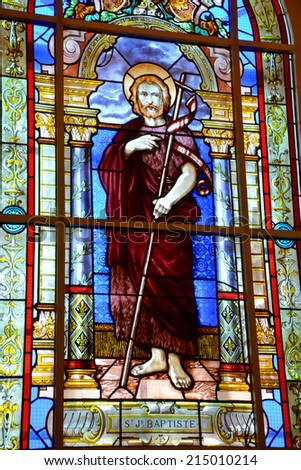 SAINT JEAN PORT JOLI QUEBEC CANADA AUGUST 30 2014: Stained glass window of the church of  Saint-Jean-Port-Joli village in the Regional County of L'Islet in the Chaudi�¨re Appalaches of Quebec, Canada. - stock photo