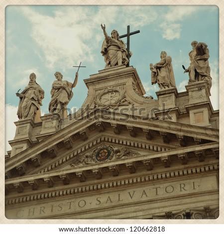 Saint Jhon Basilica in Rome Details. shoot taken witha mobile camera effect - stock photo