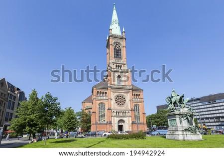 Saint Johans (Johanneskirche) brick church in Dusseldorf, Germany  - stock photo
