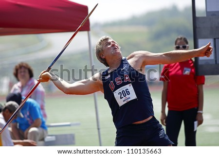 SAINT JOHN, CANADA - AUG 10: Edward Hearn of USA throws the javelin at the North, Central American & Caribbean Masters Track & Field Championships August 10, 2012 in Saint John, Canada.
