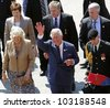 SAINT JOHN, CANADA - MAY 21: Charles, Prince of Wales, and Camilla, Duchess of Cornwall, depart the Marco Polo cruise terminal on May 21, 2012, in Saint John, Canada. - stock