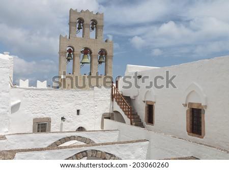 Saint John the Evangelist monastery at Patmos island in Greece - stock photo