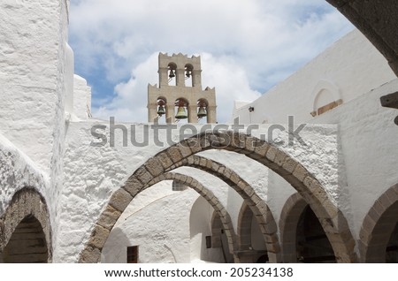 Saint John the Evangelist monastery at Patmos island in Greece - stock photo