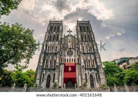 Saint Joseph Cathedral, a Roman Catholic cathedral in Hanoi Vietnam - stock photo