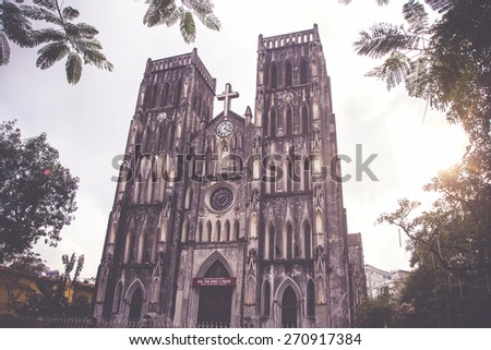 Saint Joseph Cathedral, Hanoi, Vietnam-vintage style - stock photo