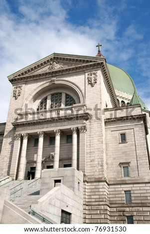Saint Joseph's Oratory construction began in 1904. The original Church was enlarged many times. The actual Basilica construction was terminated in 1967. - stock photo