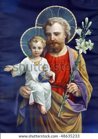 Saint Joseph with child Jesus - stock photo