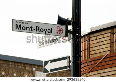 Saint Laurent & Mont Royal Street Signs - Montreal - Canada - stock photo