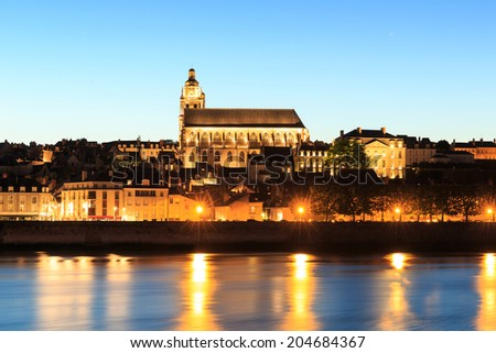 Saint-Louis Cathedral in Blois at night, France