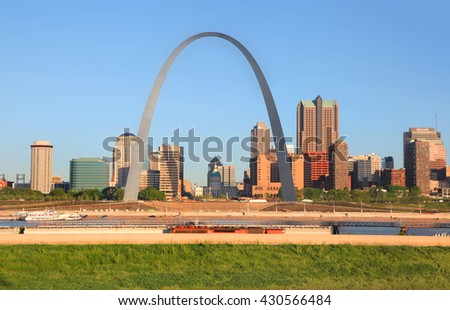 Saint Louis, MO, USA - April 28, 2016: Gate way arch is tallest arch in the world in Saint Louis, Missouri.